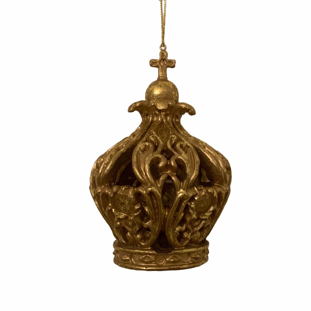 Antique Gold Resin Crown Ornament