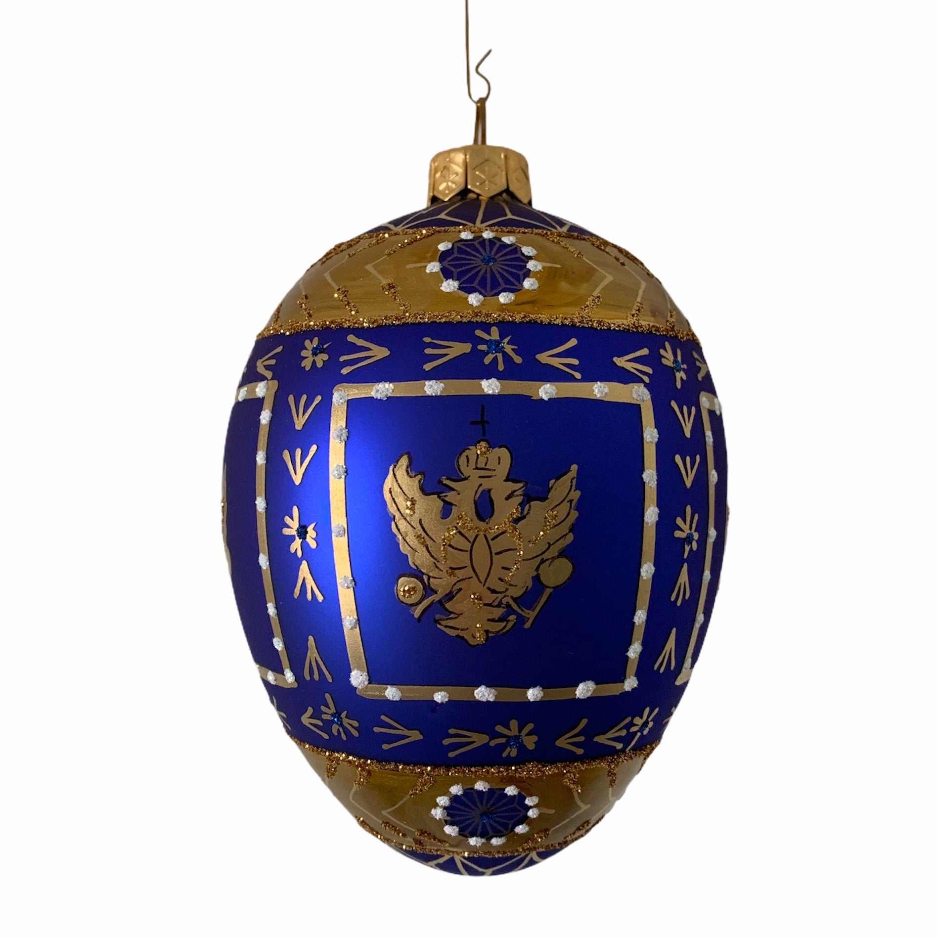 Cobalt Blue with Eagle European Glass Egg Ornament