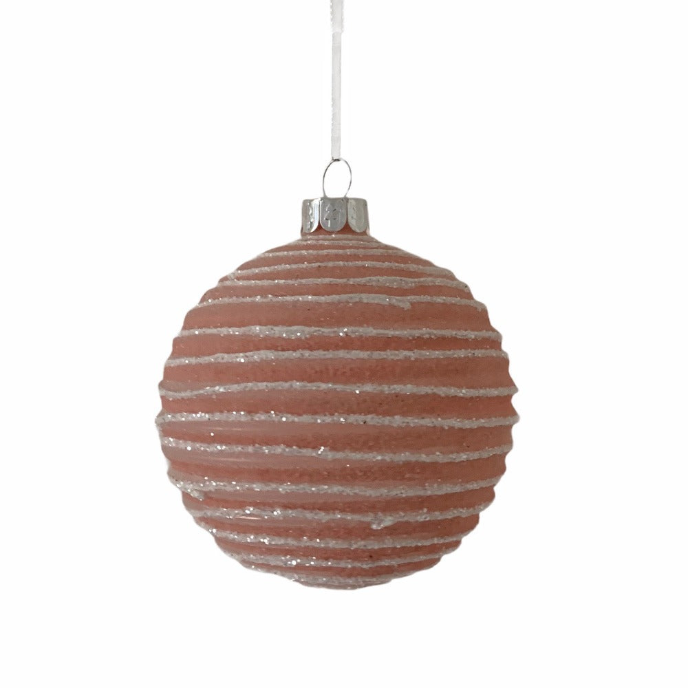 Frosted Pink with White Bands Glass Ornament  - Ball | Putti