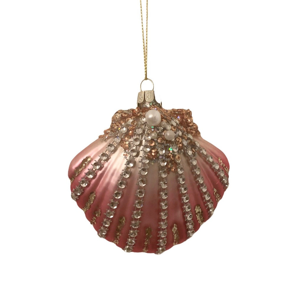 Kurt Adler Scallop Shell Glass Ornament