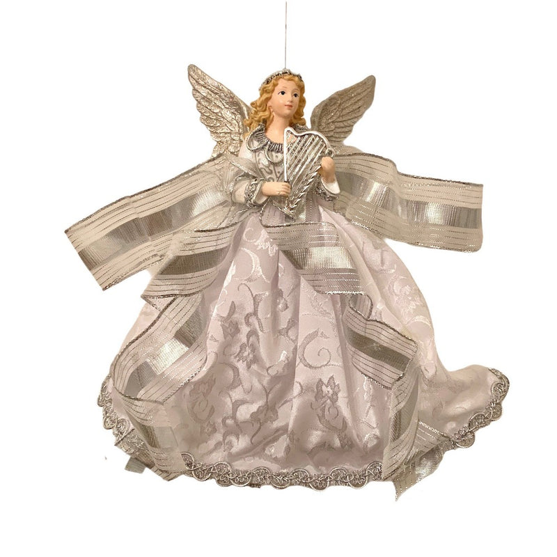 Silver and Lace Hanging Angel Ornament - Blonde  | Putti Christmas Canada