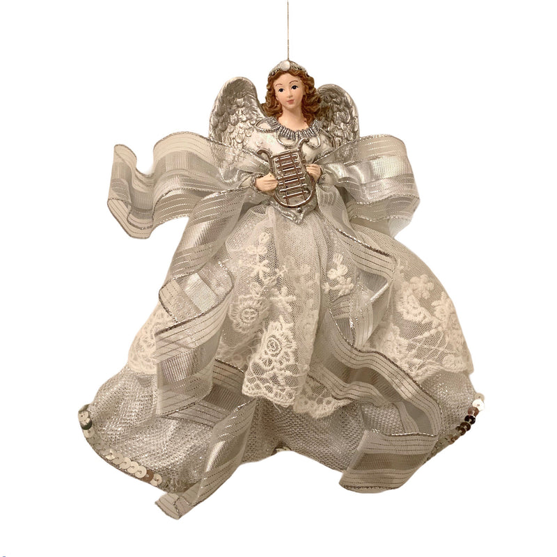 Silver  and Lace Hanging Angel Ornament - Brunette