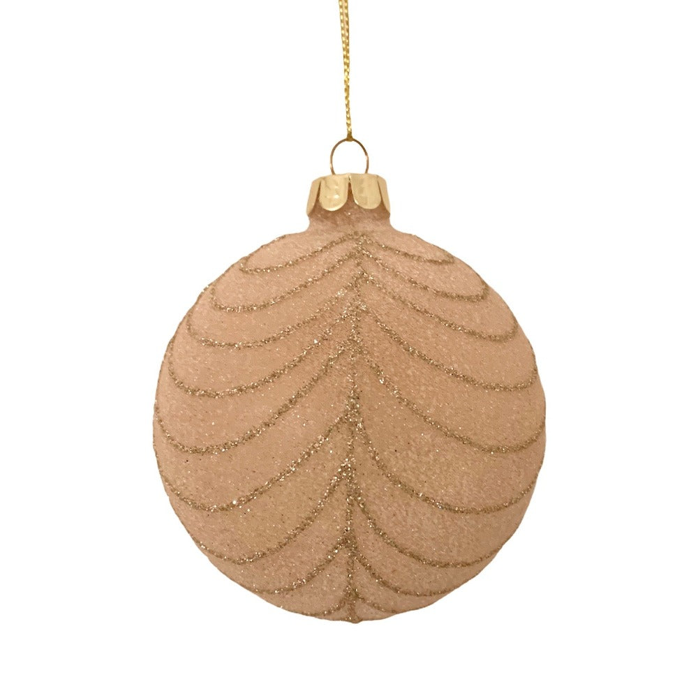 Frosted Blush with Gold Swags Glass Ball Ornament