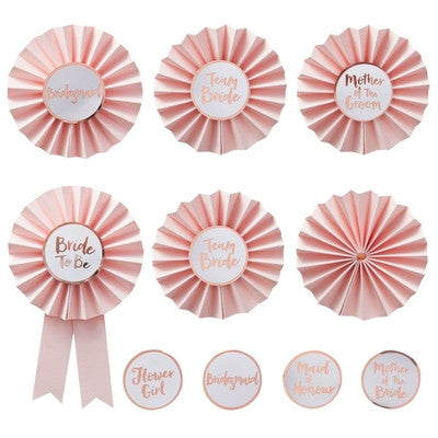 """Team Bride"" Pink And Rose Gold Hen Party Badges"