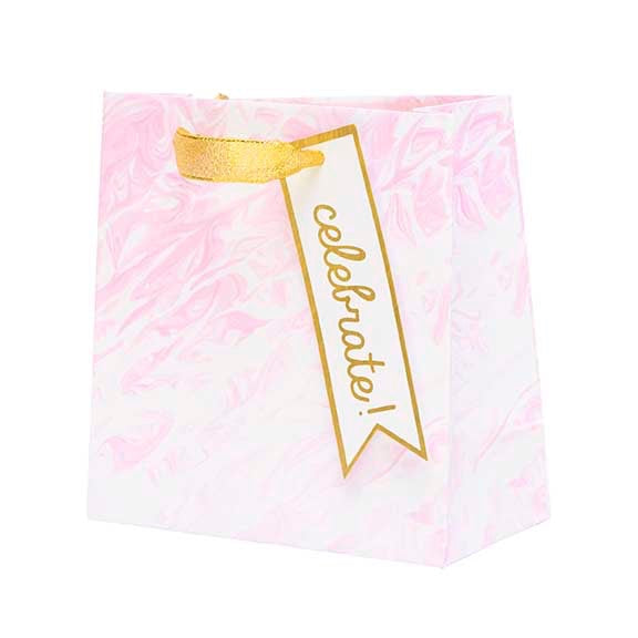 Embellished Petite Gift Bag - Pink Marble, CRG-CR Gibson, Putti Fine Furnishings