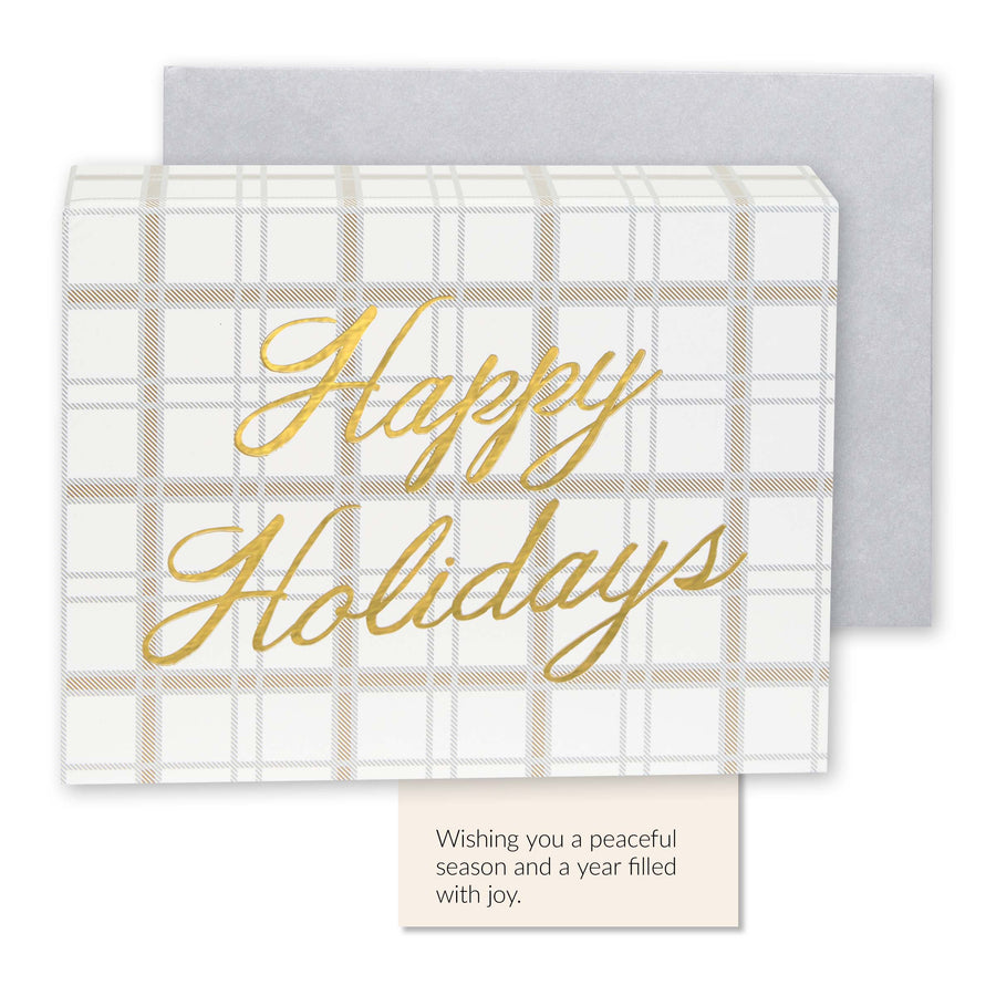 Boxed Christmas Cards - Gold Plaid