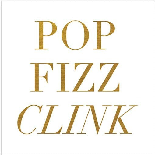 """Pop Fizz Clink"" Beverage Napkin, CRG-CR Gibson, Putti Fine Furnishings"