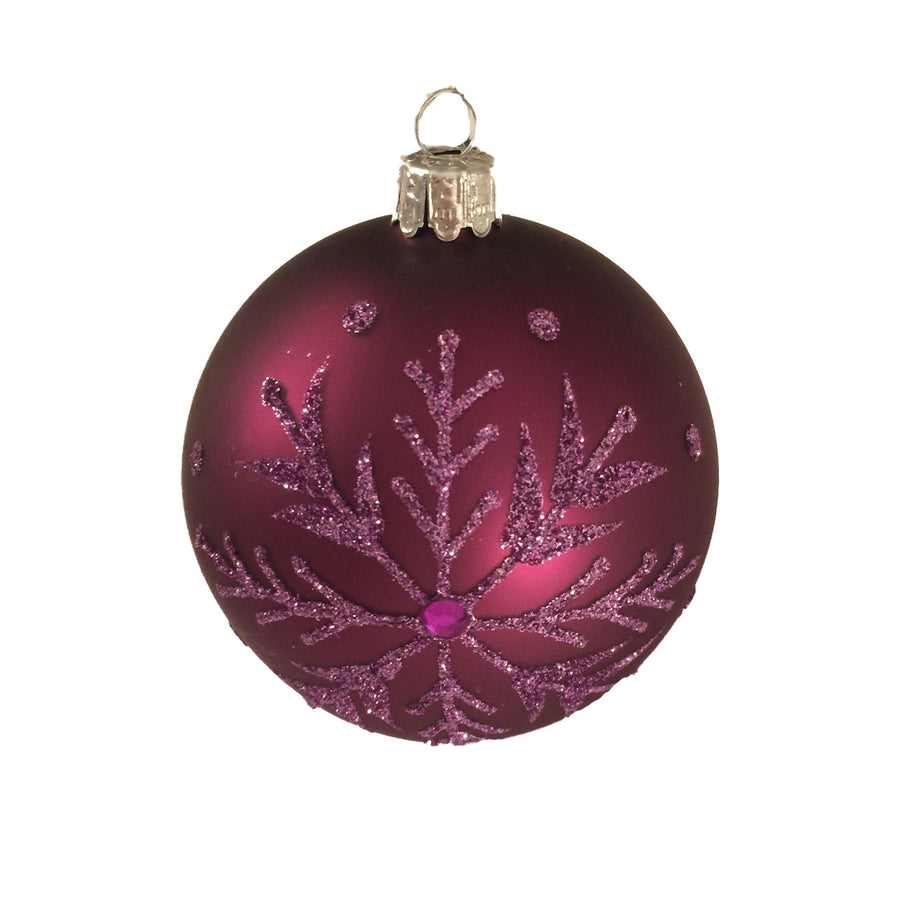 Purple Snowflake Glass Ball -  Christmas - Christmas Tradition - Putti Fine Furnishings Toronto Canada