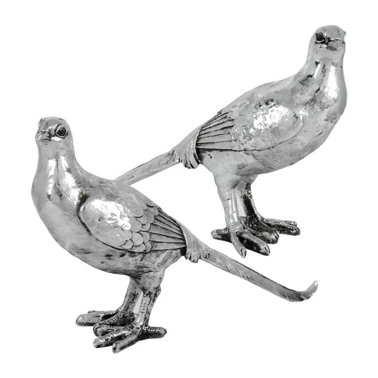 Pair of Silver Pheasants-Accessories-Pine Center-Putti Fine Furnishings