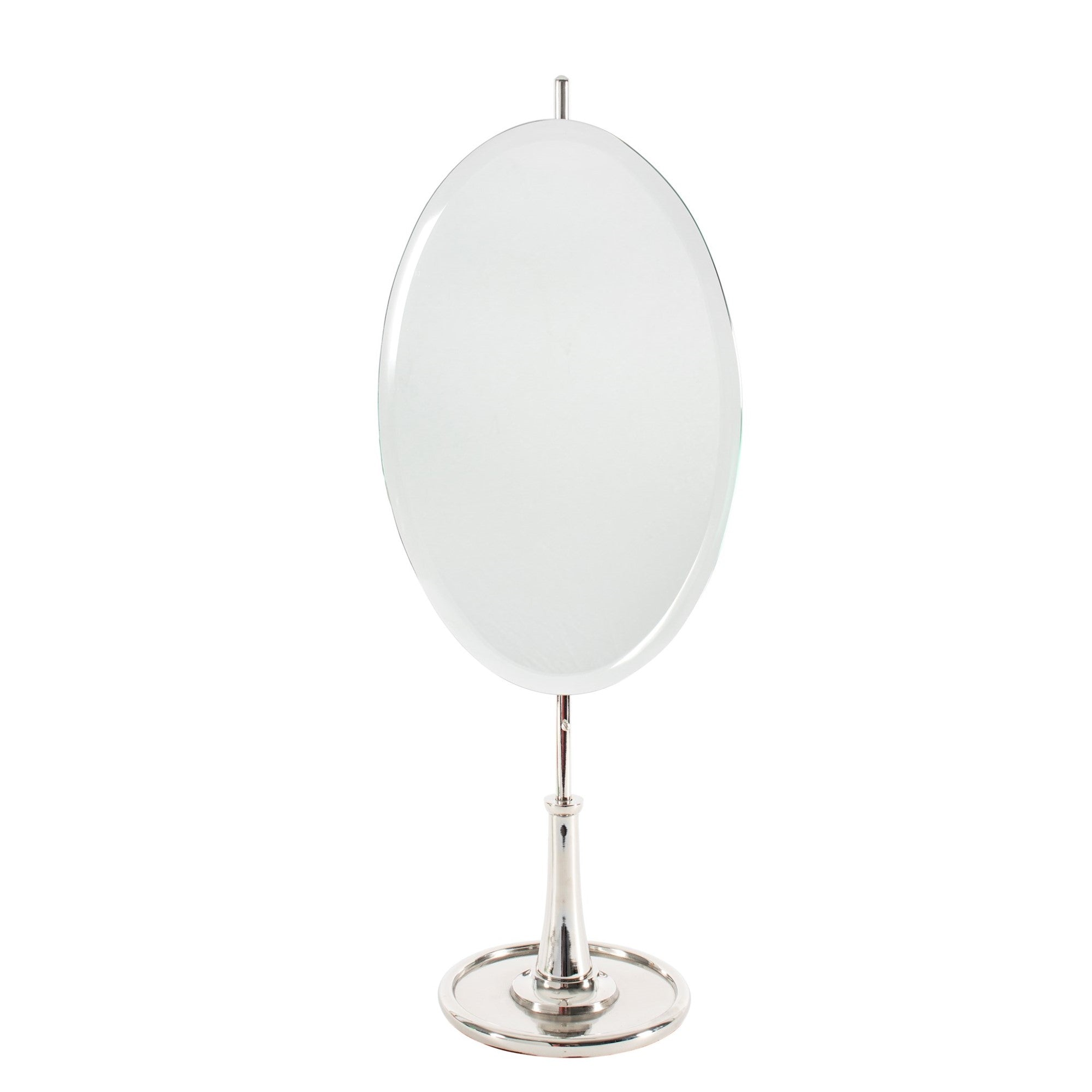 Nickel Oval Table Mirror with Stand  - Putti Fine Furnishings Canada