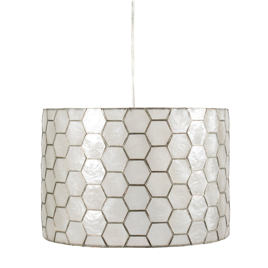 Natural Capiz Shell Drum Pedant Light -  Lighting - Canfloyd - Putti Fine Furnishings Toronto Canada