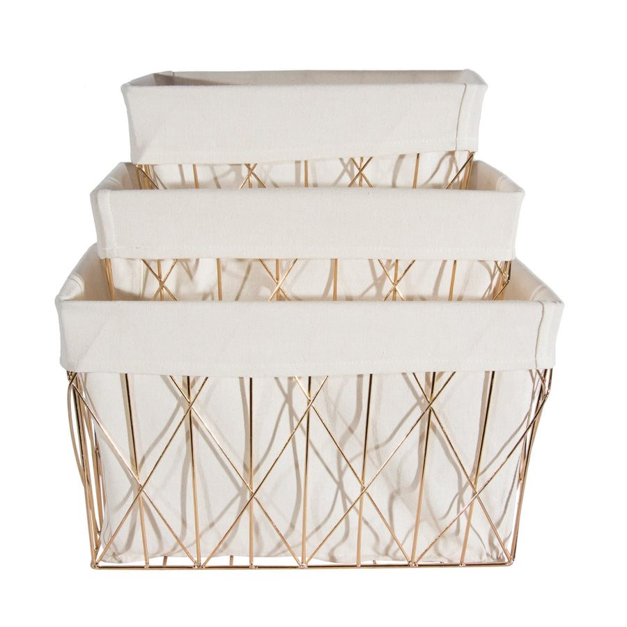 Gold Basket with Linen Liner - Rectangular set of 3