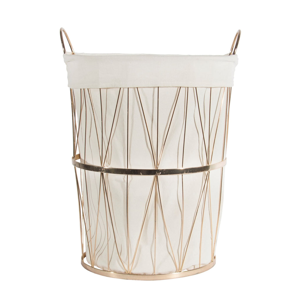 Gold Basket with Linen Liner - Round