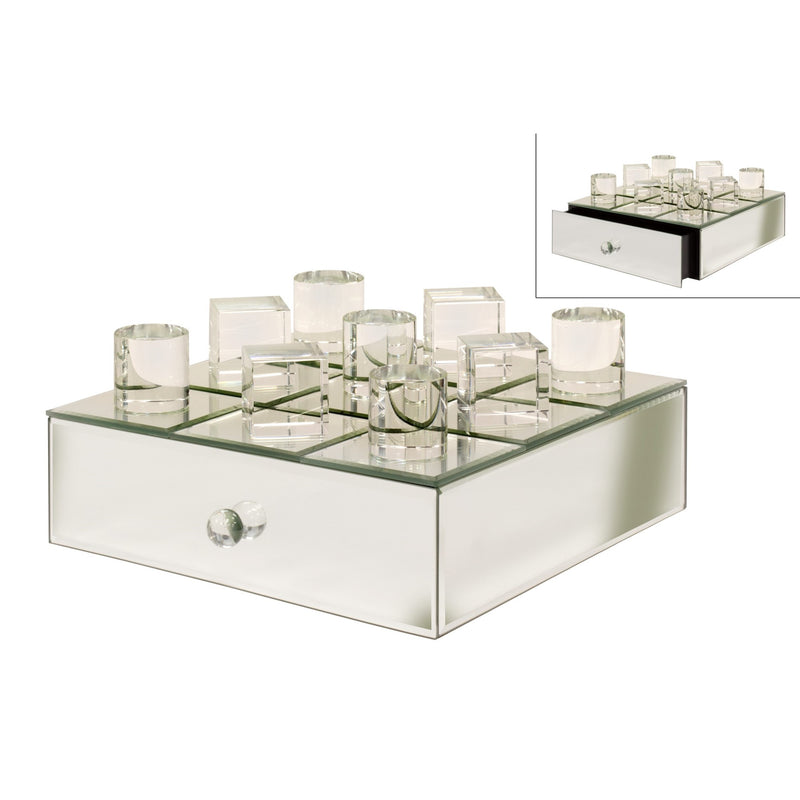 Mirrored Crystal Tic Tac Toe Board - Putti Fine Furnishings Canada