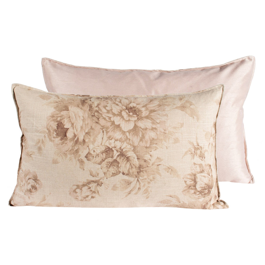 Tea Stain Old Rose Print Pillow - Rectangular