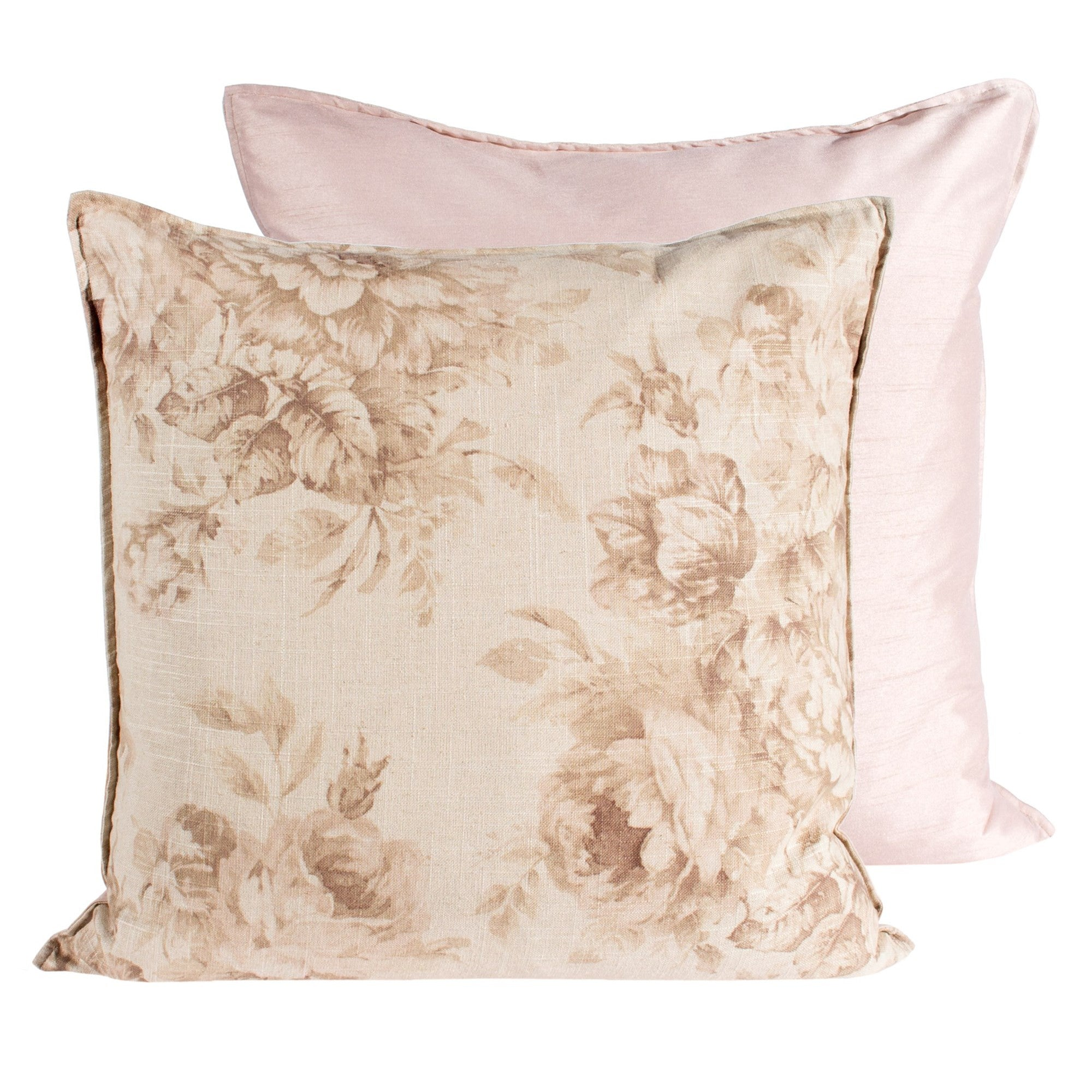 Tea Stain Old Rose Print Pillow - Square -  Accessories - Canfloyd - Putti Fine Furnishings Toronto Canada