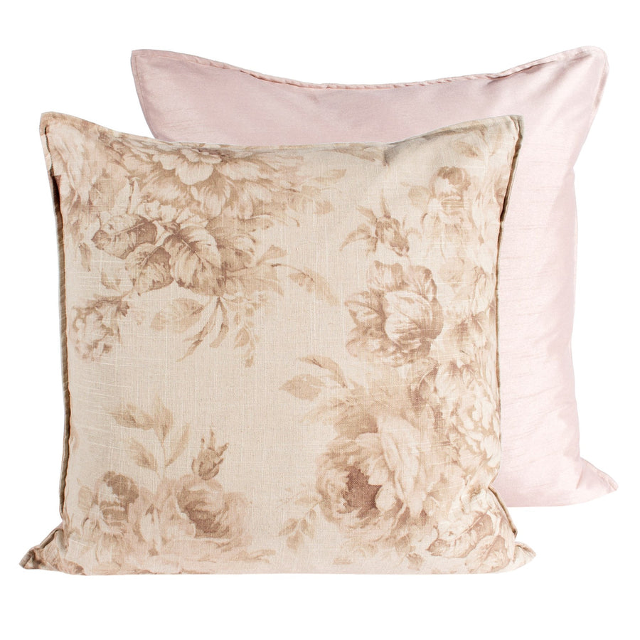 Tea Stain Old Rose Print Pillow - Square