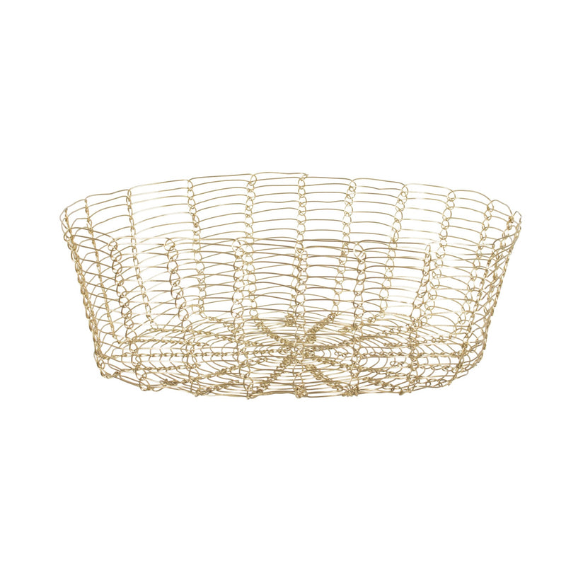 Oval Gold Wire Basket -Small - Putti Fine Furnishings Canada