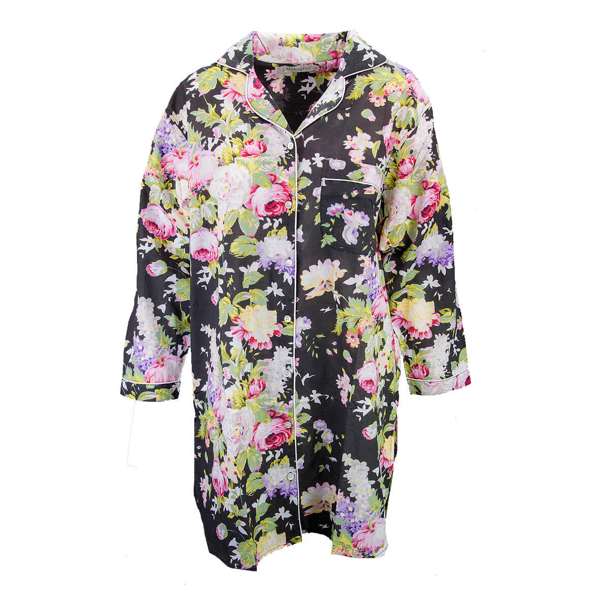 "Mahogany ""Bridgette"" Black Floral Cotton Nightshirt - Putti Fine Fashions"