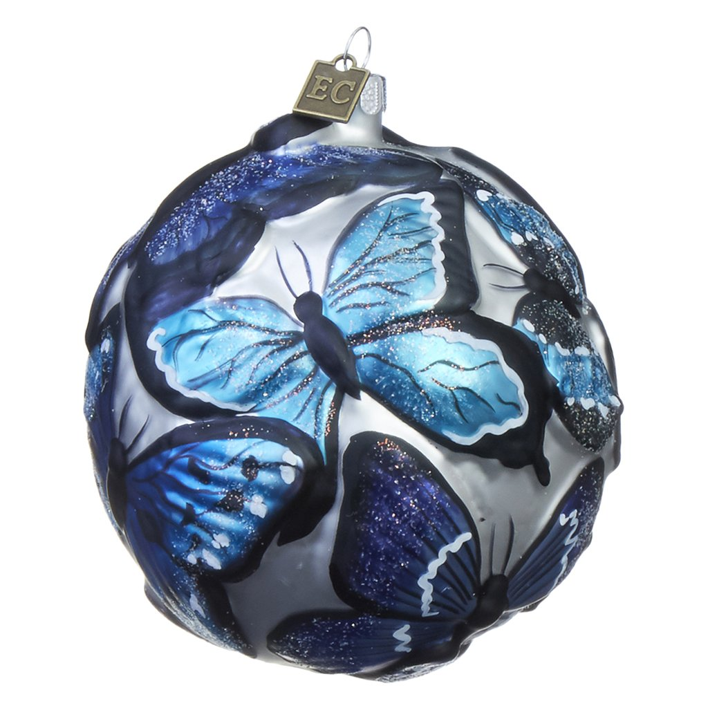 Eric Cortina Blue Embossed Butterfly Ornament
