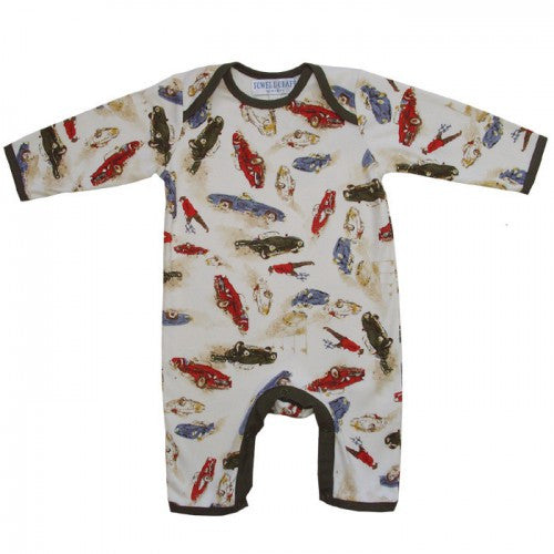 Vintage Racing Car Jumpsuit - 0 to 6 month Children's Clothing - Powell Craft Uk - Putti Fine Furnishings Toronto Canada