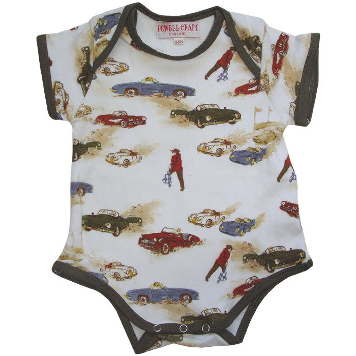 Vintage Racing Car Baby Grow - 0 to 6 month Children's Clothing - Powell Craft Uk - Putti Fine Furnishings Toronto Canada