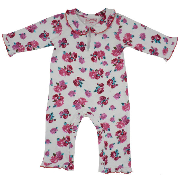 Red Rose Floral Jumpsuit-Children's Clothing-PC-Powell Craft Uk-0 to 6 month-Putti Fine Furnishings