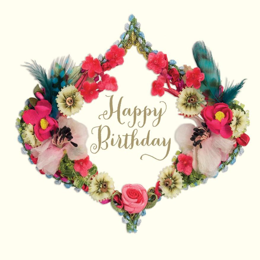 "Rococo Ribbon ""Happy Birthday"" Wreath Greeting Card, ID-Incognito Distribution, Putti Fine Furnishings"