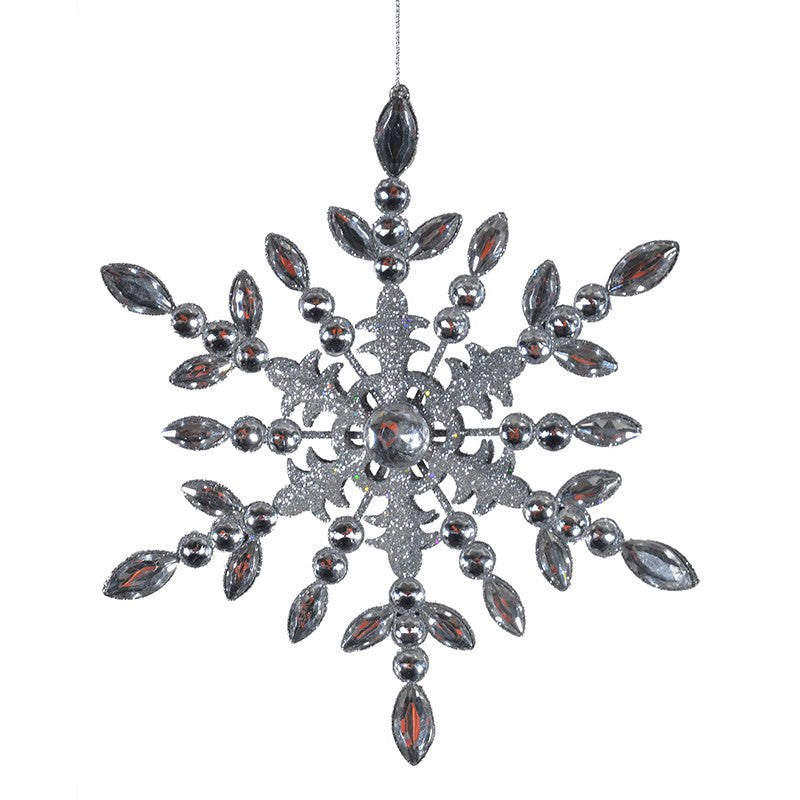 Silver Jewelled Hanging Snowflake Decoration
