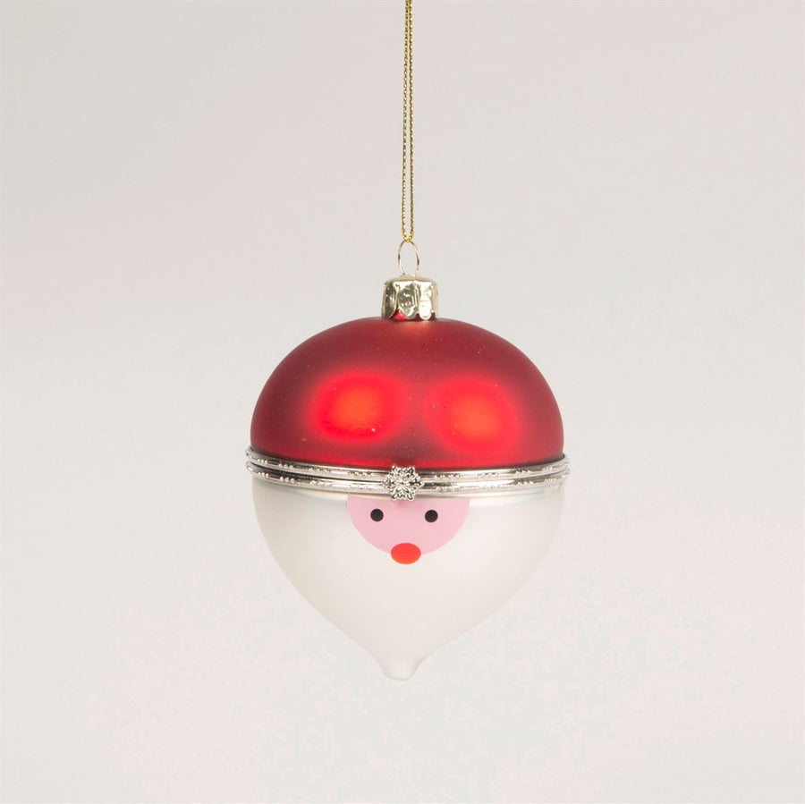 Santa Trinket Box Glass Ornament
