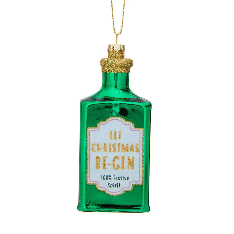Let Christmas Be-Gin Glass Ornament | Putti Christmas Decorations Canada