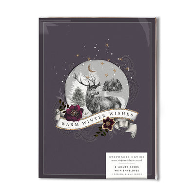 "Stephanie Davies ""Warm Winter Wishes"" Deer Globe Christmas Card Pack 
