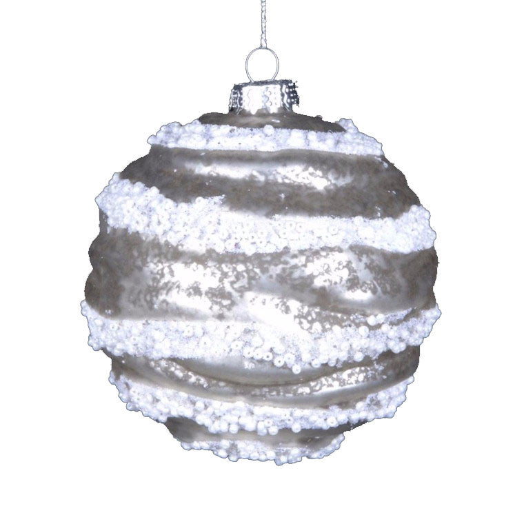 Glittered Pearl Ridged Glass Ornament
