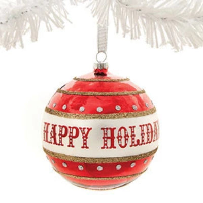 """Happy Holidays"" Retro Glass Ornament"