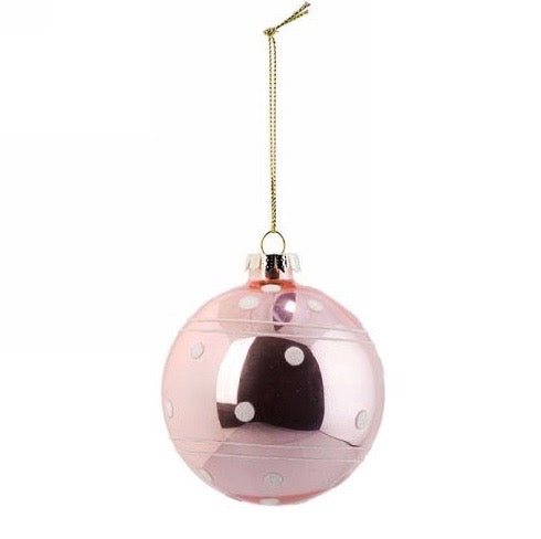 Pink with Dots Glass Christmas Ball Ornament