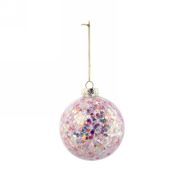 Clear Glass Christmas Ball Ornament with Pink Sequins