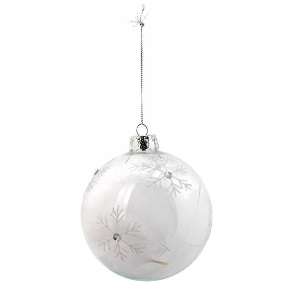 Clear Glass Ball Christmas Ornament with Snowflakes | Putti Christmas