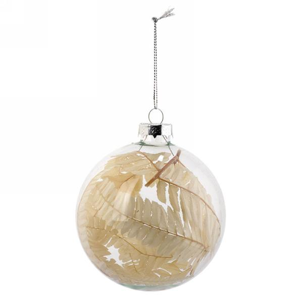 Clear Glass Ball Christmas Ornament with Foliage | Putti Canada