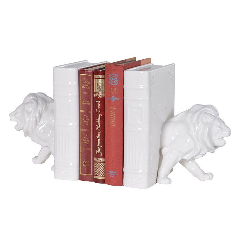 Pair of White Porcelain Lion Bookends