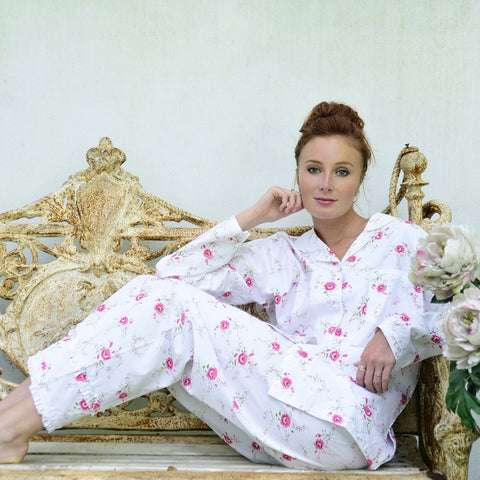 """Katie"" Rose Printed Cotton Ladies Pyjamas -  Nightwear - Powell Craft Uk - Putti Fine Furnishings Toronto Canada - 1"