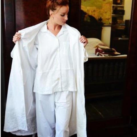"""Julia"" White Embroidered Rose Ladies Pyjamas -  Nightwear - Powell Craft Uk - Putti Fine Furnishings Toronto Canada - 1"