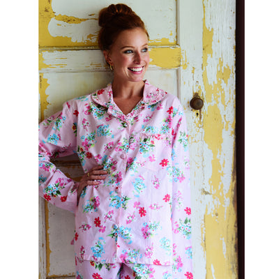 Pink Floral Ladies Cotton Pyjamas | Putti Fine Fashions