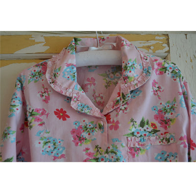 Pink Floral Ladies Cotton Pyjamas