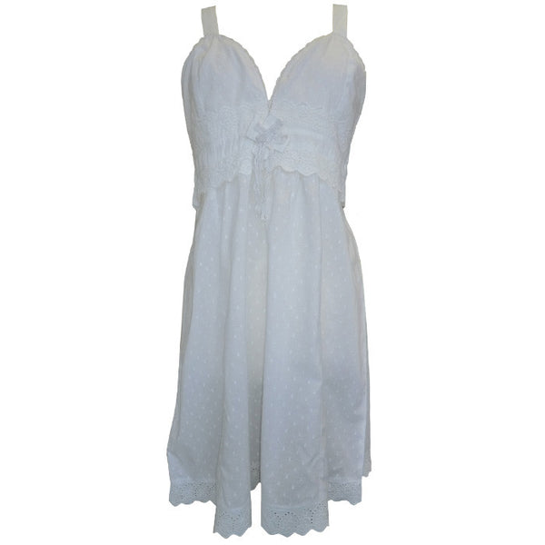 """Fifi"" White Swiss Dot Nightdress-Night Gown-PC-Powell Craft Uk-Putti Fine Furnishings"