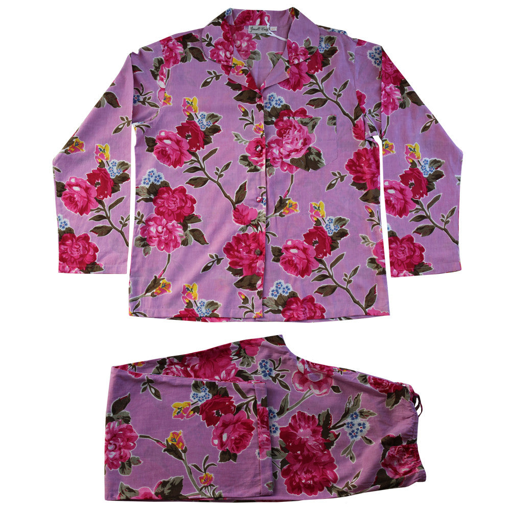 """Lilac Rose"" Printed Cotton Ladies Pyjamas -  Nightwear - Powell Craft Uk - Putti Fine Furnishings Toronto Canada - 1"