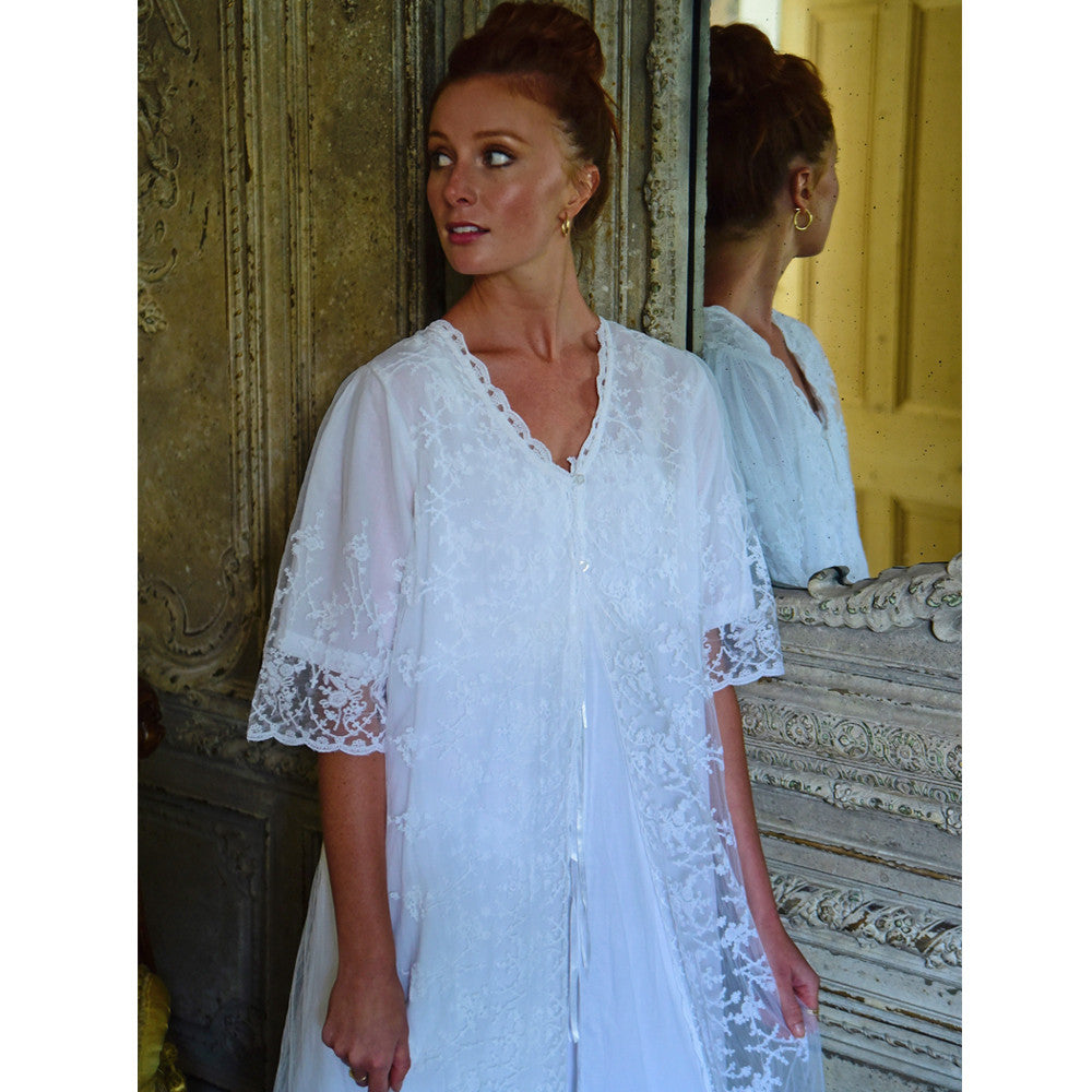 Embroidered Lace Dressing Gown -  Night Gown - Powell Craft Uk - Putti Fine Furnishings Toronto Canada - 5