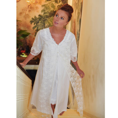 Embroidered Lace Dressing Gown -  Night Gown - Powell Craft Uk - Putti Fine Furnishings Toronto Canada - 3