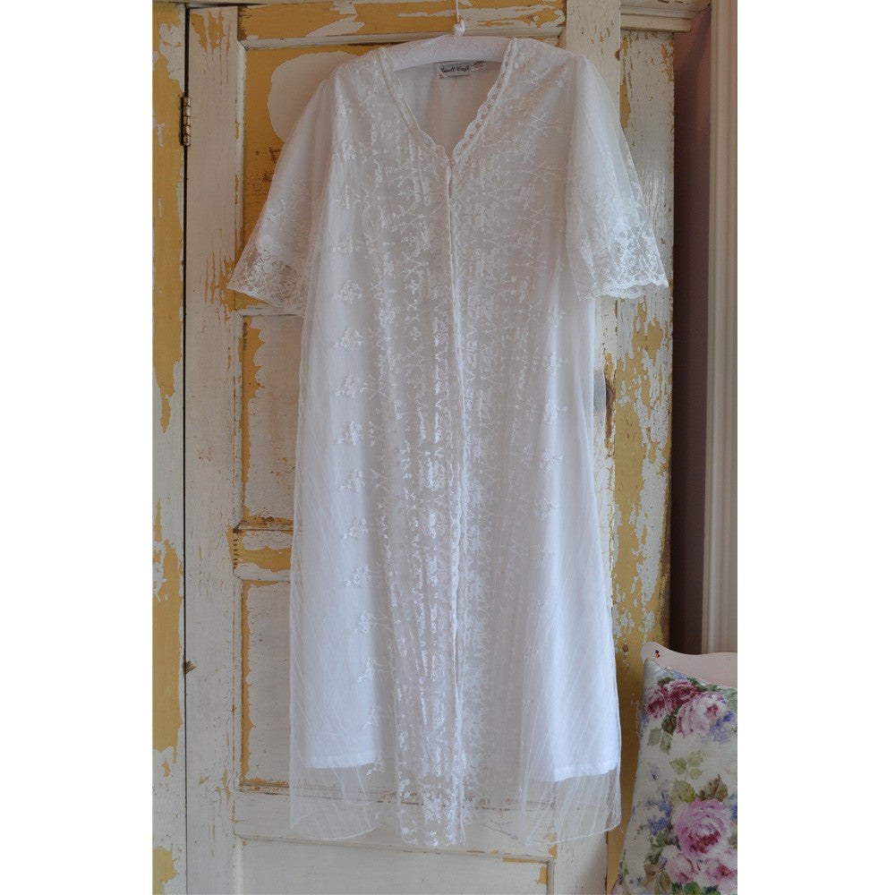 Embroidered Lace Dressing Gown -  Night Gown - Powell Craft Uk - Putti Fine Furnishings Toronto Canada - 2