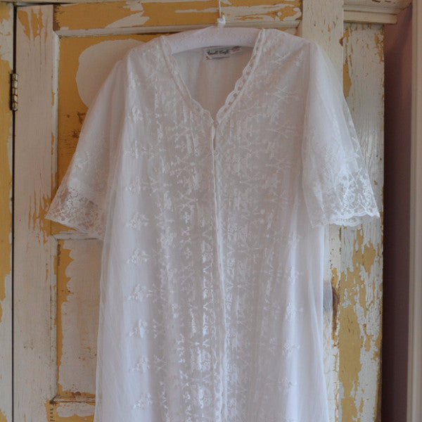 Embroidered Lace Dressing Gown -  Night Gown - Powell Craft Uk - Putti Fine Furnishings Toronto Canada - 1