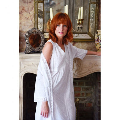 """Megan"" Swiss Dot Dressing Gown -  Women's Clothing - Powell Craft Uk - Putti Fine Furnishings Toronto Canada - 4"